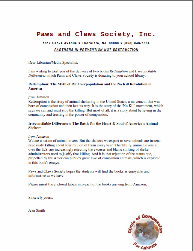Letter to all New Jersey high school libraries regarding books being donated by Paws and  Claws Society, Inc.